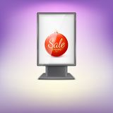 Black lightbox with Red Christmas tree ball and Royalty Free Stock Photography