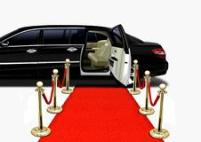 Black Limo on Red Carpet Arrival Royalty Free Stock Photo