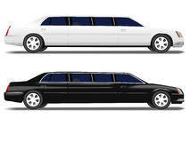 Black Limo White Limousine car transportation Royalty Free Stock Photo