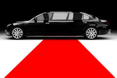 Black limousine. A black limousine with a red carpet Royalty Free Stock Photography