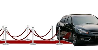 Black limousine arrival and red carpet Royalty Free Stock Photo