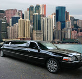 Black limousine in Hong Kong. Black limousine, view to Hong Kong island Stock Images