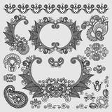 Black line art ornate flower design collection,. Ukrainian ethnic style Royalty Free Stock Photography