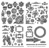 Black line art ornate flower design collection Stock Images