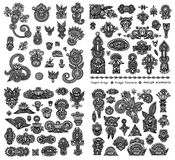 Black line art ornate flower design collection, Stock Images