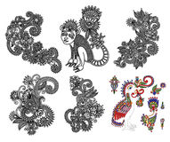 Black line art ornate flower design collection,. Ukrainian ethnic style Royalty Free Stock Photos
