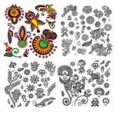 Black line art ornate flower design collection, Stock Photo