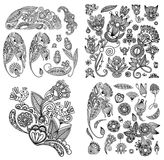 Black line art ornate flower design collection,. Ukrainian ethnic style stock illustration