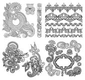 Black line art ornate flower design collection, Royalty Free Stock Photos