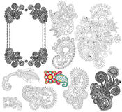 Black line art ornate flower design collection, Stock Image