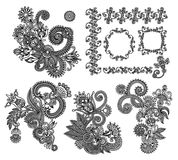 Black line art ornate flower design collection, Royalty Free Stock Images