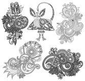 Black line art ornate flower design collection, Stock Images