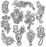 Black line art ornate flower design collection,. Ukrainian ethnic style, autotrace of hand drawing Stock Photos