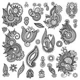 Black line art ornate flower design collection. Ukrainian ethnic style, autotrace of hand drawing Royalty Free Stock Photos