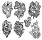 Black line art ornate flower design collection,. Ukrainian ethnic style, hand drawing, vector illustration Royalty Free Stock Photos