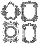 Black line art ornate flower design frame Royalty Free Stock Image