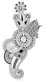 Black line art ornate flower design, ukrainian Stock Photography