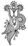 Black line art ornate flower design, ukrainian Royalty Free Stock Photography