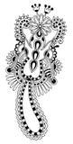 Black line art ornate flower design, ukrainian Royalty Free Stock Photo
