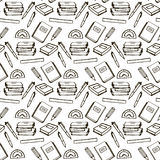 Black line book seamless pattern Stock Photo