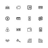 Black line business commercial and finance icon set. For web design, user interface (UI), infographic and mobile application (apps Royalty Free Stock Photography