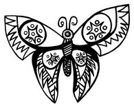 Black line butterfly for tattoo, coloring book for adult and kid Stock Photography