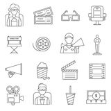 Black Line Cinema Icons Set Stock Image