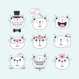 Black line cute smiling cats with different faces icons. Set on light blue background stock illustration