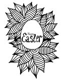 Black line Easter egg in abstract frame Stock Images