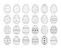 Black line Easter egg set. Decorative ornate eggs collection. Can be used for coloring page, decoration royalty free illustration