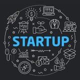 Black Line Flat Circle illustration startup Stock Photo