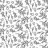 Black line floral 8 March seamless vector pattern. Stock Images