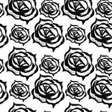 Black line floral pattern with flower and leaf Royalty Free Stock Image