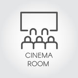 Black line icon audience in room cinema, video presentation. Royalty Free Stock Photography