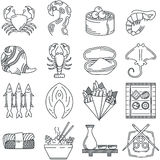 Black line icon collection of sea food Stock Image