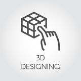 Black line icon device virtual modeling digital simulation technology future Stock Photography