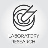 Black line icon of laboratory research and experiment. Black symbol of laboratory research and experiments. Pixel perfect icon 48x48 px. Simple black line logo Royalty Free Stock Images