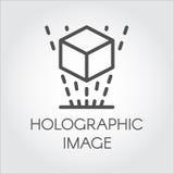 Black line icon virtual hologram projection digital technology future Stock Photos