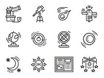 Black line icons for astronomy Stock Images