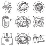 Black line icons for barbecue Royalty Free Stock Images