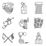 Black line icons collection of paintball accessory Royalty Free Stock Images