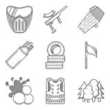 Black line icons collection of paintball equipment Royalty Free Stock Images