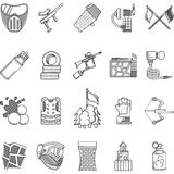 Black line icons collection for paintball Stock Photo
