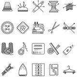 Black line icons collection for sewing or handmade Royalty Free Stock Photography