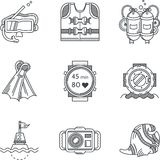 Black line icons for diving Royalty Free Stock Photos