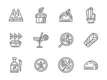 Black line icons for mexican menu Royalty Free Stock Images