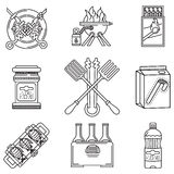 Black line icons for picnic Stock Photo