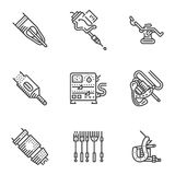 Black line icons for tattoo equipment Stock Images