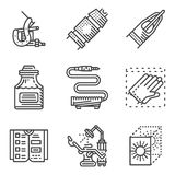 Black line icons for tattoo parlor. Black flat line style icons for element for tattoo parlor. Tattoo equipment and accessories, chair, administration Royalty Free Stock Photography