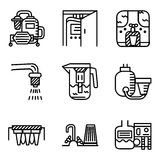 Black line icons for water filters Royalty Free Stock Photo
